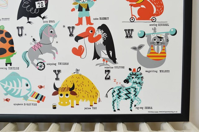 Ketchup on Everything's ABC nursery poster. A1 bright and cheerful animals to help learnt the alphabet reviewed by Frankie and the Lamb