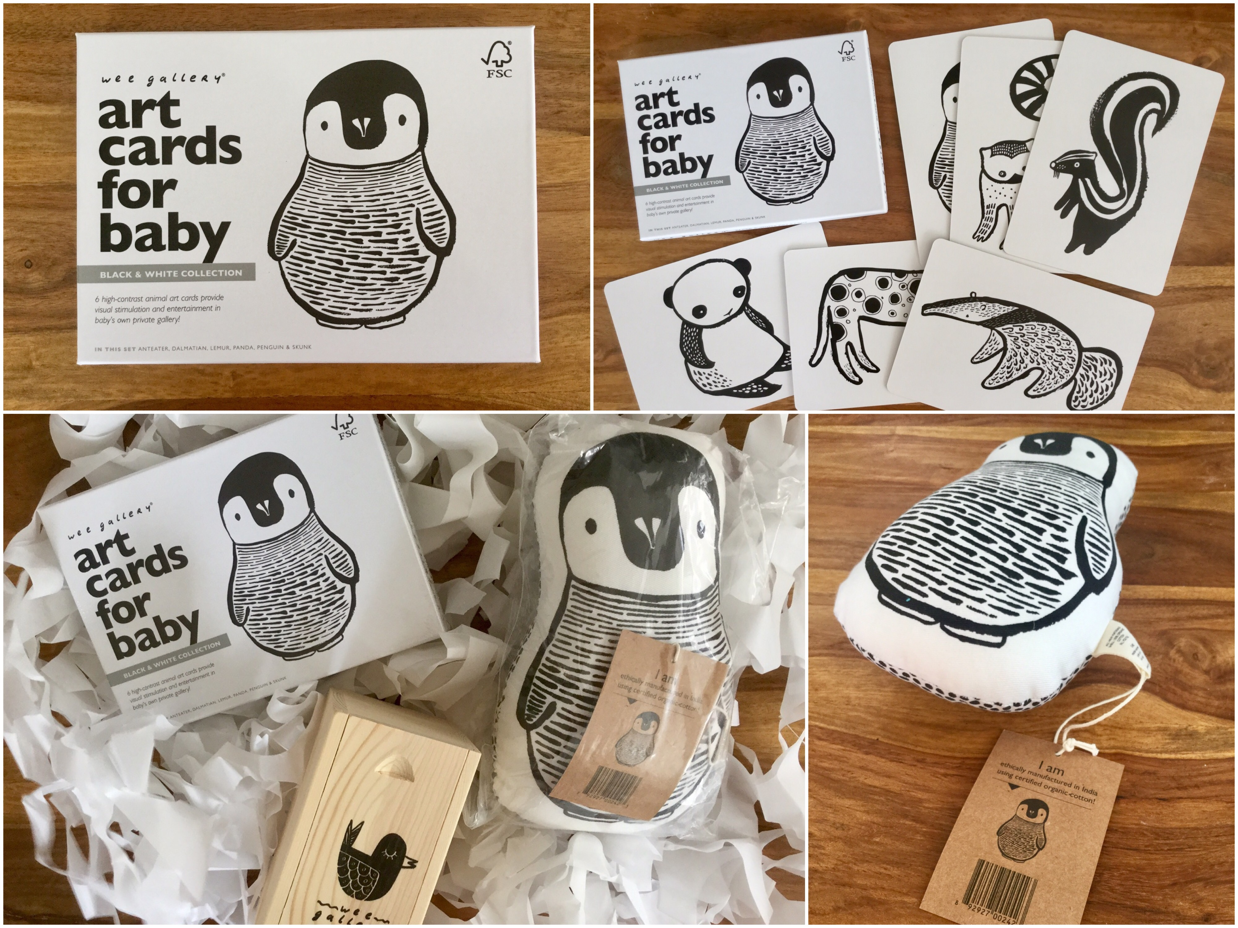 Wee Gallery - Monochrome Baby Toys and Nursery Decor. Black and White goodies for Frankie and the Lamb to review. Art cards, stacking dolls and cot cushion