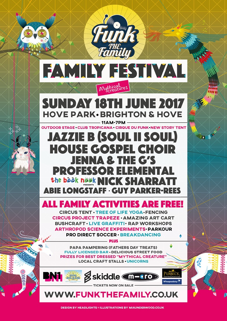 Funk the Family, 18th June 2017, family music festival in Hove Park, Brighton, East Sussex. Full of entertainment for all the family on Father's Day!