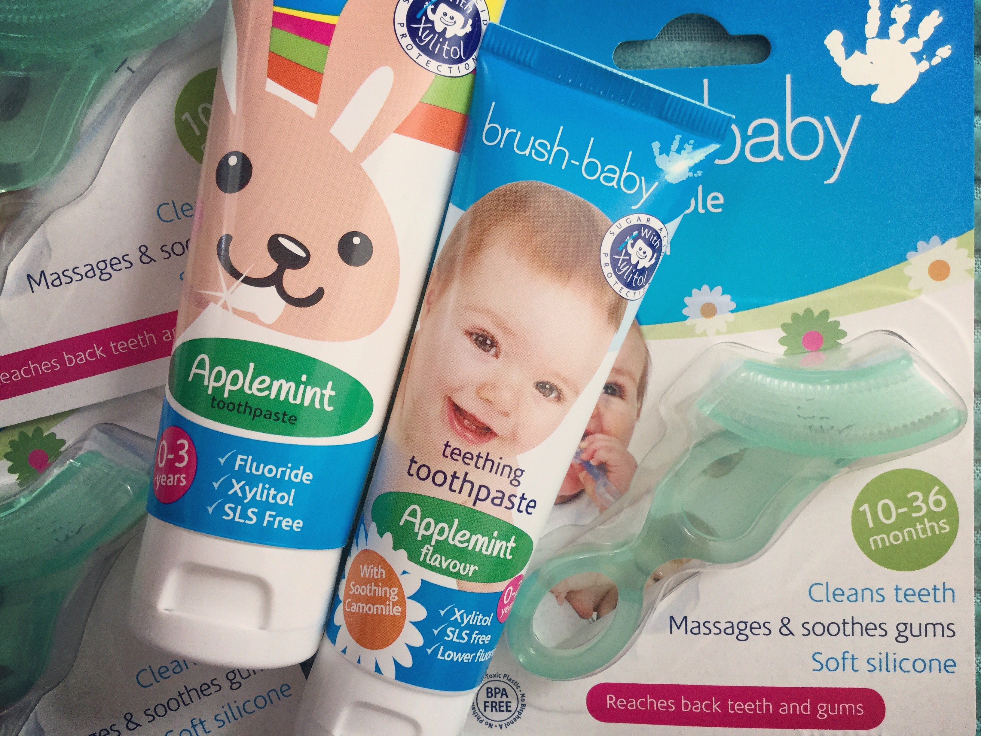 Brush Baby Chewable Toothbrush and Toddler Toothpaste in Applemint. Tested out by Frankie and the Lamb who loves the chewy brush more than his soft toys!