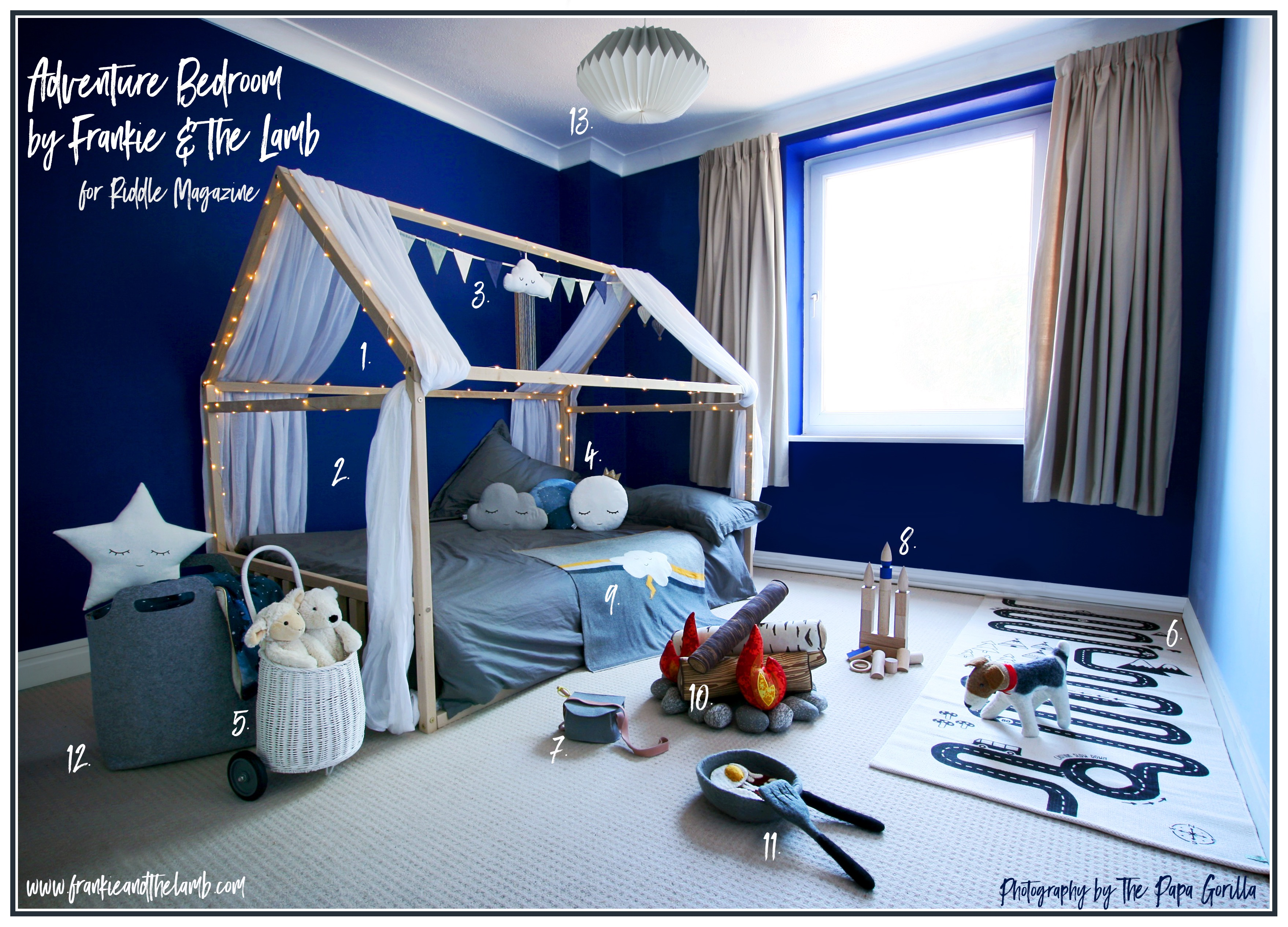 Frankie & the Lamb gave the nursery a makeover. The Adventure Bedroom features child-friendly paint and a Montessori floor bed Copyright The Papa Gorilla