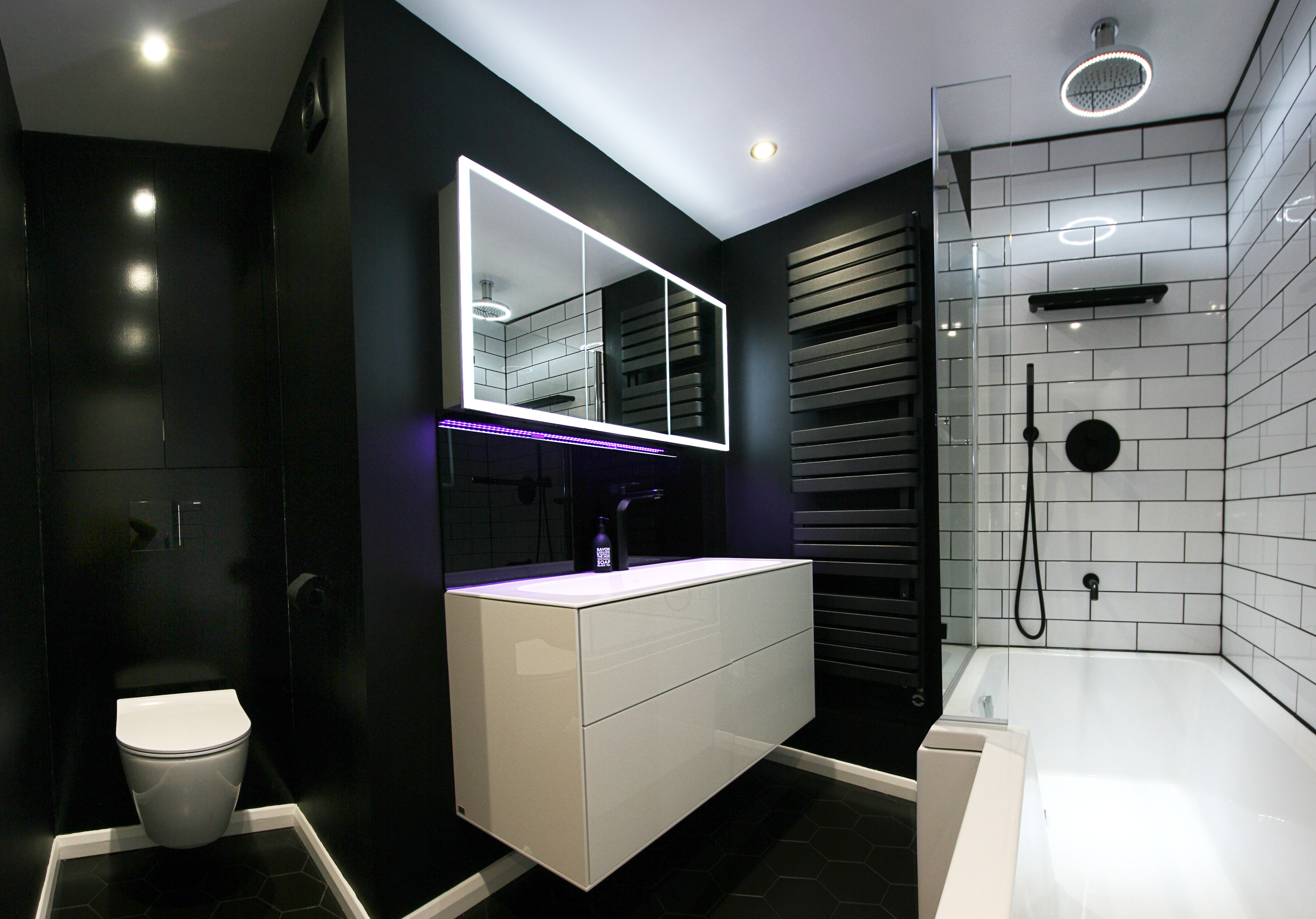 Family Bathroom Renovation Black Amp White Modern Luxury